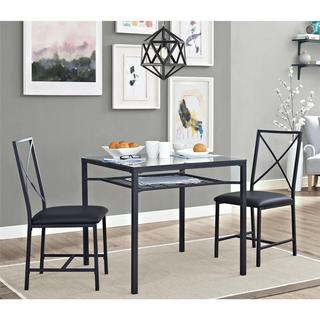 dorel living 3 piece metal and glass black dinette - Kitchen Glass Table