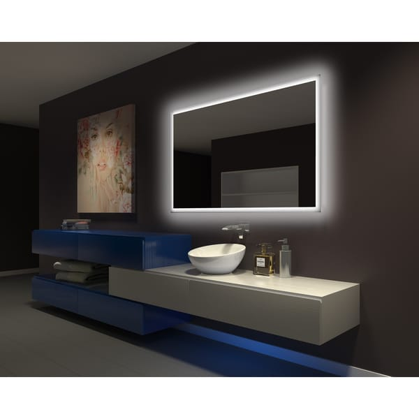 Shop Ib Mirror Dimmable Backlit Bathroom Mirror Rectangle 60 In X 36