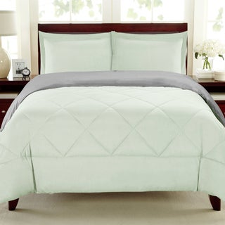 Reversible All Season Down Alternative Grey and Mint Comforter Set
