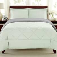 Reversible All Season Down Alternative Grey and Mint Comforter Set
