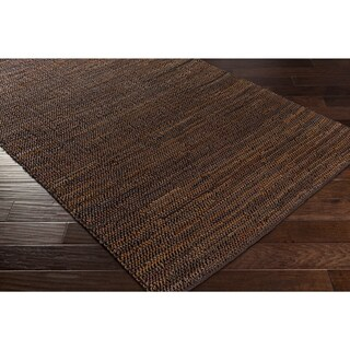 "Hand-Woven Aquarius Leather Rug (5' x 7'6"")"