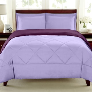 Reversible All Season Down Alternative Lavender/Wine  3-piece Comforter Set