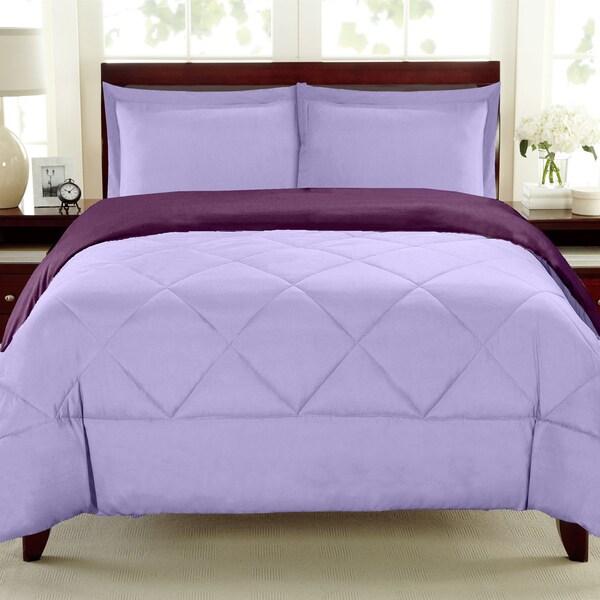 Reversible All Season Down Alternative Lavender/Wine  3-piece Comforter Set