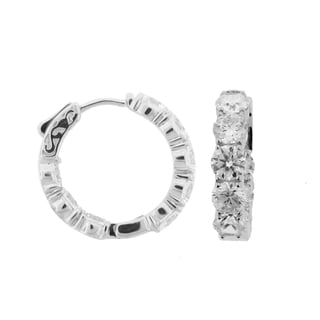 Meredith Leigh Sterling-silver Cubic Zirconia Inside-out Hoop Earrings