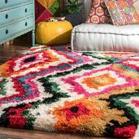 nuLOOM Multi Soft and Plush Trellis Abstract Carnival Shag Rug