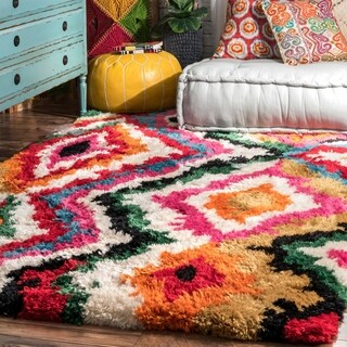 nuLOOM Soft and Plush Trellis Abstract Carnival Shag Multi Rug (7'6 x 9'6)