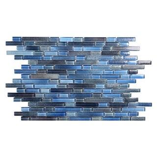 Hi-Fi Blue Glass Offset Linear (5 sheets per case) Mosaic Tile