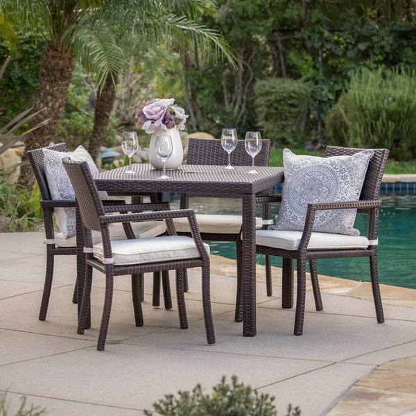Rhode Island Outdoor 5 Piece Wicker Rectangular Dining Set By Christopher Knight Home