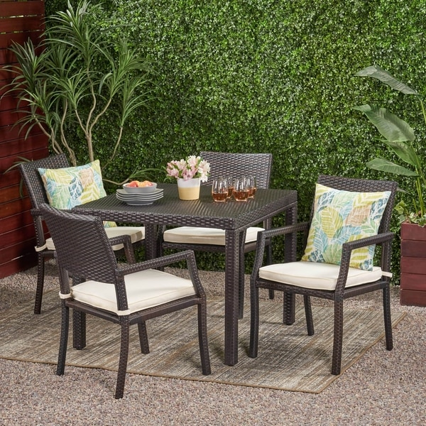 Rhode Island Outdoor 5-piece Wicker Rectangular Dining Set by Christopher Knight Home. Opens flyout.