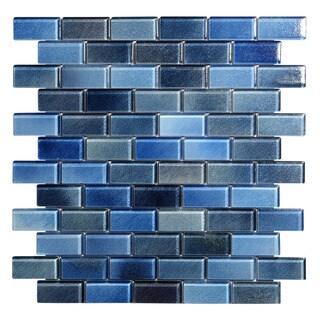 Hi-Fi Blue Glass 1 x 2 Offset (5 sheets per case) Mosaic Tile