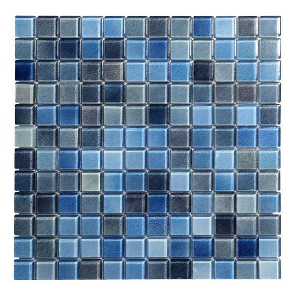 Shop Blue Glass Square Wall Tile Sheets Per