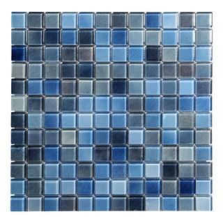 Hi-Fi Blue Glass 1 x 1 Square Wall Tile (5 Sheets Per Case)