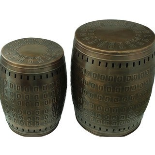 Saffron Fabs Multiple Purpose Hand Tooled 2-piece Metal Stool Set