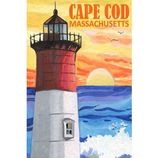 Marmont Hill - 'Cape Cod Lighthouse' Painting Print on Wrapped Canvas