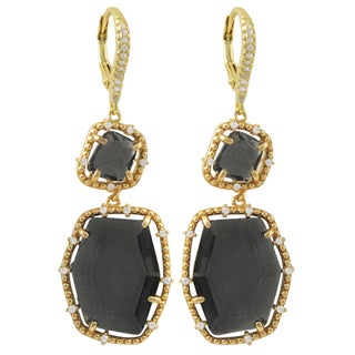 Luxiro Gold Finish Sterling Silver Sliced Glass and Cubic Zirconia Earrings