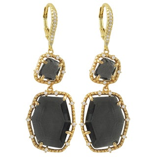 Luxiro Gold Finish Sterling Silver Grey Sliced Glass and Cubic Zirconia Earrings