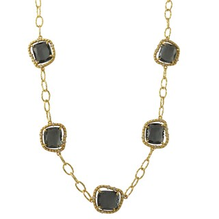 Luxiro Gold Finish Sterling Silver Grey Sliced Glass and Cubic Zirconia Necklace
