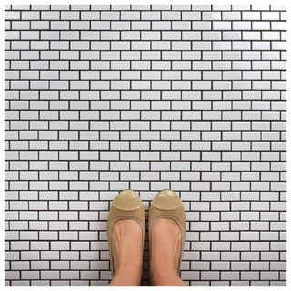 SomerTile 11.875x12-inch Zaharina Subway Glossy White Porcelain Mosaic Floor and Wall Tile (10/Case, 10.1 sqft.)