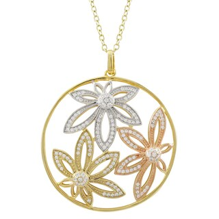 Luxiro Tri-color Gold Finish Cubic Zirconia Flower Circle Pendant Necklace