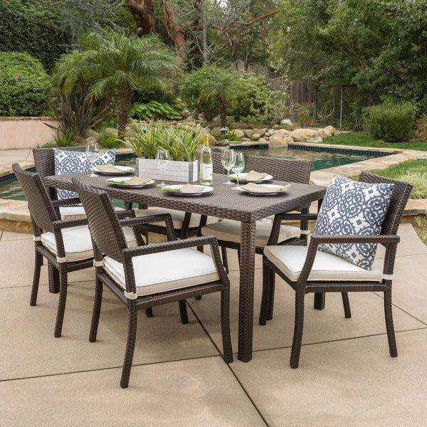shop rhode island outdoor 7 piece wicker rectangular dining set by christopher knight home on. Black Bedroom Furniture Sets. Home Design Ideas
