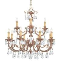 Crystorama Etta Collection 12-light Olde Brass/Swarovski Spectra Crystal Chandelier