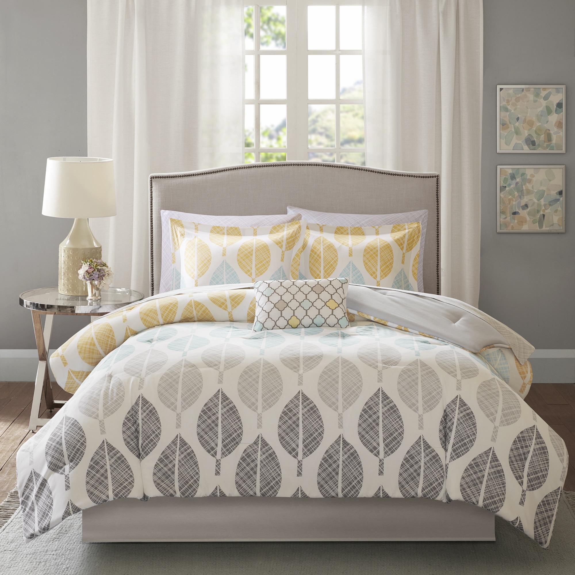 pinstripe full microfiber bed com amazon queen kitchen home elle overstock down bedding dp comforter
