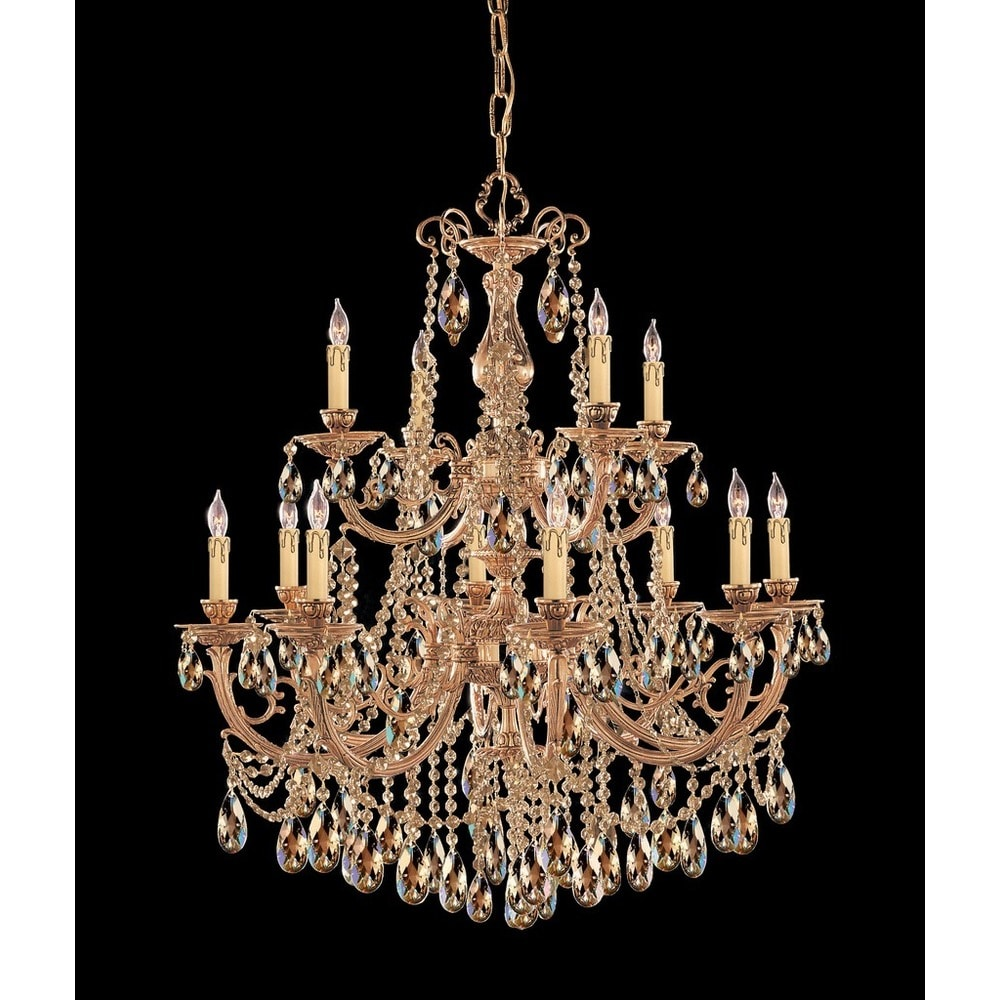 Monaco 12 light Golden Iron Chandelier Clear Glass Crystal