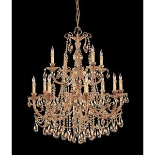 Crystorama Etta Collection 12-light Olde Brass/Golden Teak Swarovski Strass Crystal Chandelier