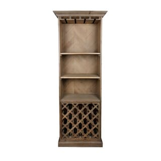Aurelle Home Rustic Vintage Bookcase Wine Bar
