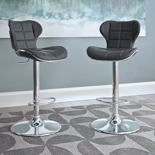 CorLiving Bonded Leather Adjustable Height Barstools (Set of 2)
