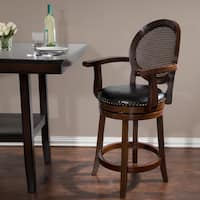 Windsor Home 26-inch Wood and Leather Swivel Stool with Armrests - Dark Brown