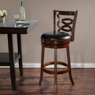 Lavish Home 31 in Wood and Leather Swivel Stool - Dark Brown