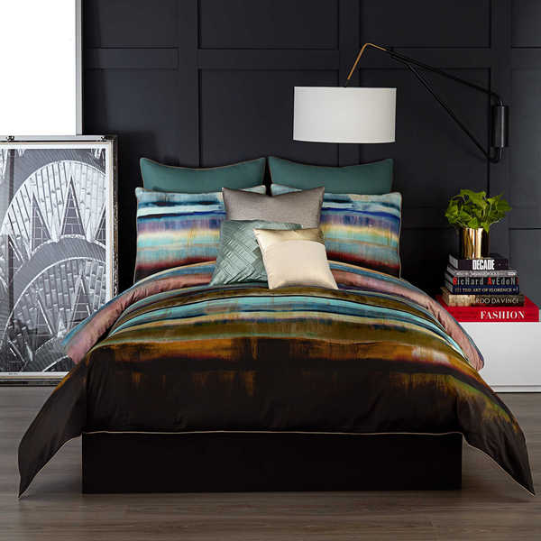 Vince Camuto Lille Striped Green and Gold Duvet Cover Set