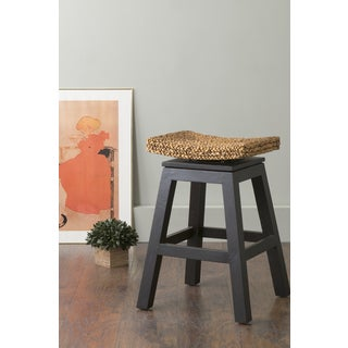 East At Main's Joyce Black Wood and Water Hyacinth Counter Stool