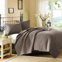 Hampton Hill Velvet Touch Taupe Quilted Coverlet 3-Piece Set