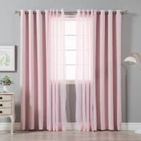 Aurora Home MIX AND MATCH Crushed Voile & Solid Blackout Curtain Panel Pair - 52 x 84