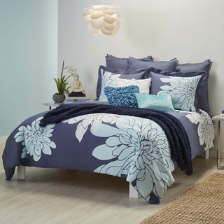 Ashley 100-percent Cotton Sateen Indigo 3-piece Duvet Cover Set