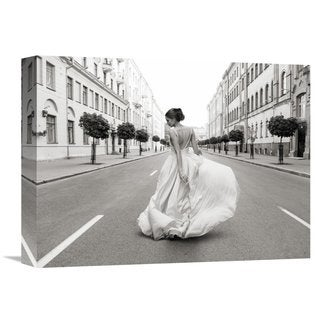 Global Gallery Haute Photo Collection 'Walking Down a Road' Stretched Canvas Artwork