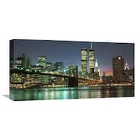 Global Gallery Mancini 'The Brooklyn Bridge and Twin Towers at Night' Stretched Canvas Artwork