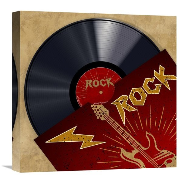 Global Gallery Hill 'Vinyl Club, Rock' Multicolored Stretched Canvas Artwork
