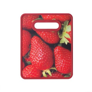 Farberware Strawberry Nonslip Red Plastic Small Cutting Board