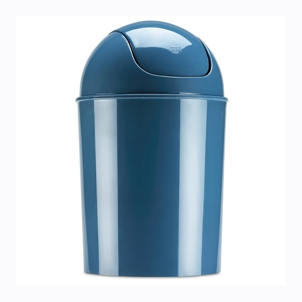 Umbra Mini Waste Can, 1.25 Gallon with Swing Lid, Mist Blue