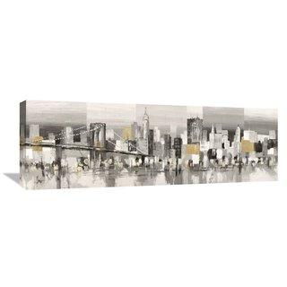 Global Gallery Florio 'Manhattan and Brooklyn Bridge' Stretched Canvas Artwork