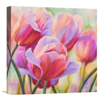 Global Gallery Ann 'Tulips in Wonderland I' Stretched Canvas Artwork