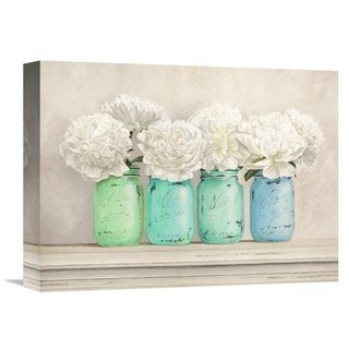 Global Gallery Thomlinson 'Peonies in Mason Jars' Stretched Canvas Artwork