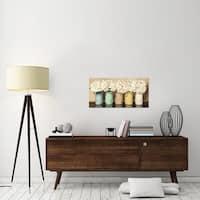 Global Gallery Thomlinson 'Hydrangeas in Mason Jars' Stretched Canvas Artwork
