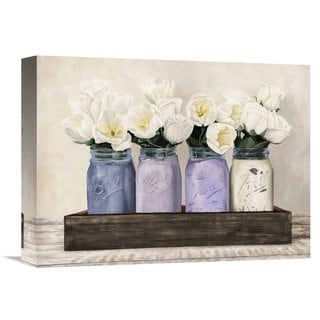 Global Gallery Thomlinson 'Tulips in Mason Jars' Multicolored Stretched Canvas Artwork