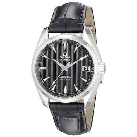 Omega Men's O23113392101001 'Seamaster Aqua Terra' Automatic Black Leather Watch