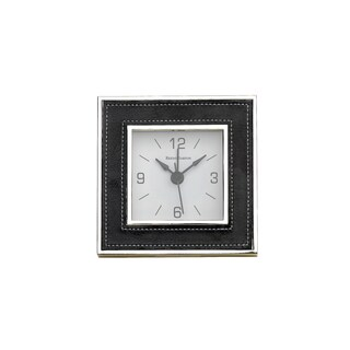 Reed and Barton James Black Faux Leather Desktop Clock
