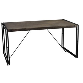 Cortesi Home Thayer Wood Top Dining Table with Metal Legs - Grey